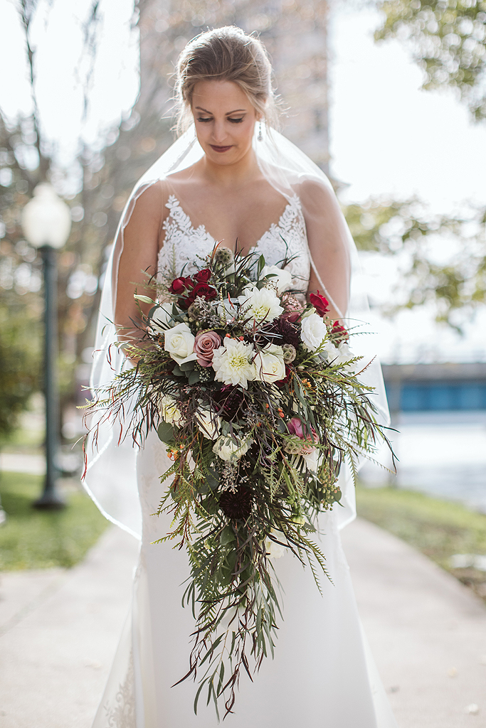 bride in downtown rockford along rock river