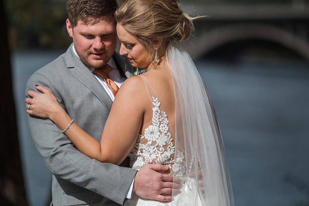 bride and groom enjoying quiet moment