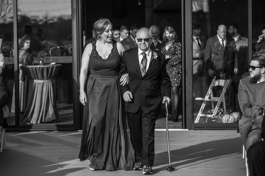 sister and grandfather at a wedding in rockford il
