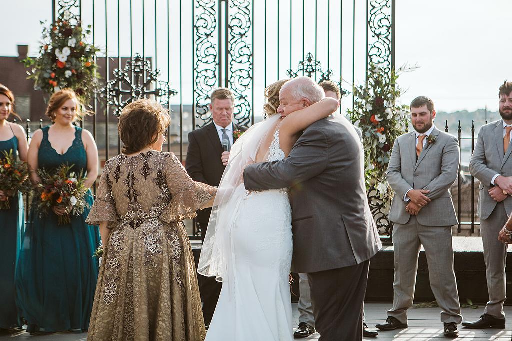 bride hugging dad at the standard