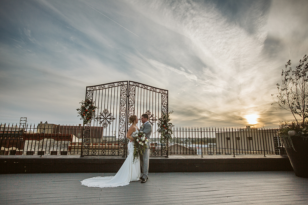 sunset Wedding at the standard in rockford illinois