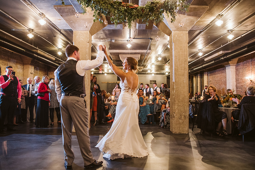 bride and groom first dance at the standard in rockford illinois