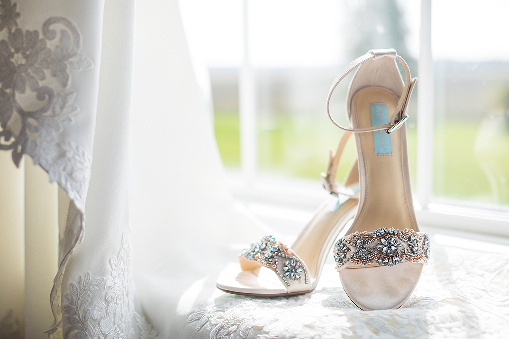 bride shoes on the window still