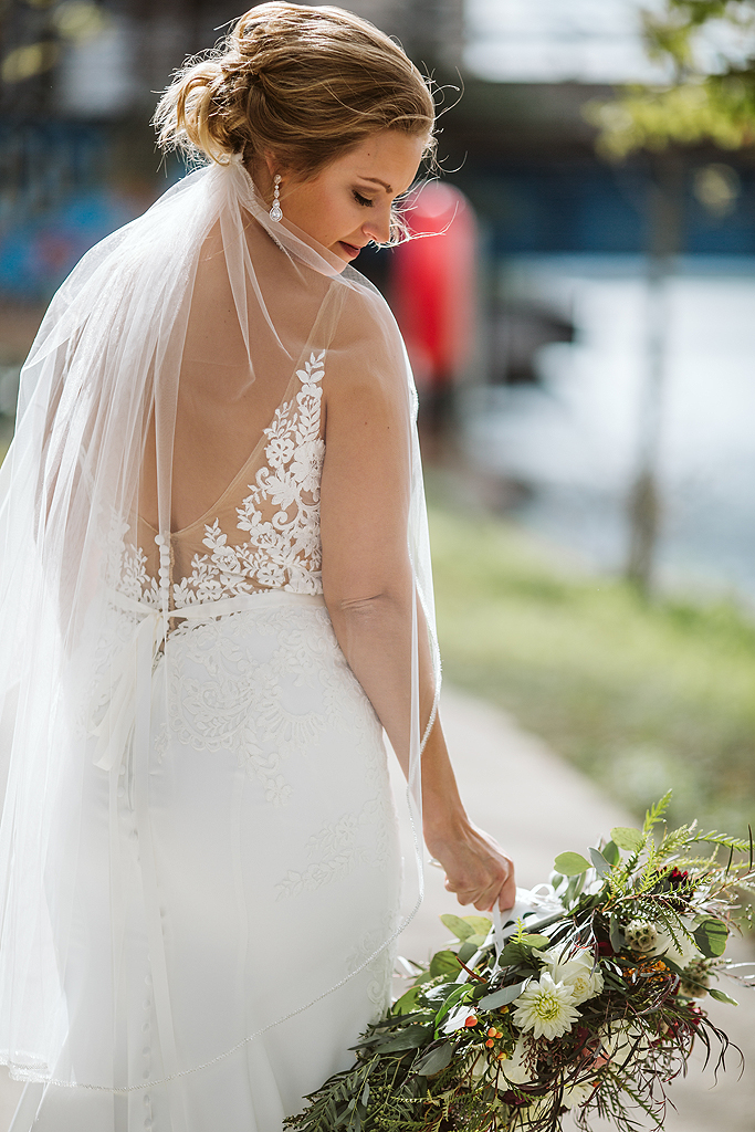 bride looking over shoulder