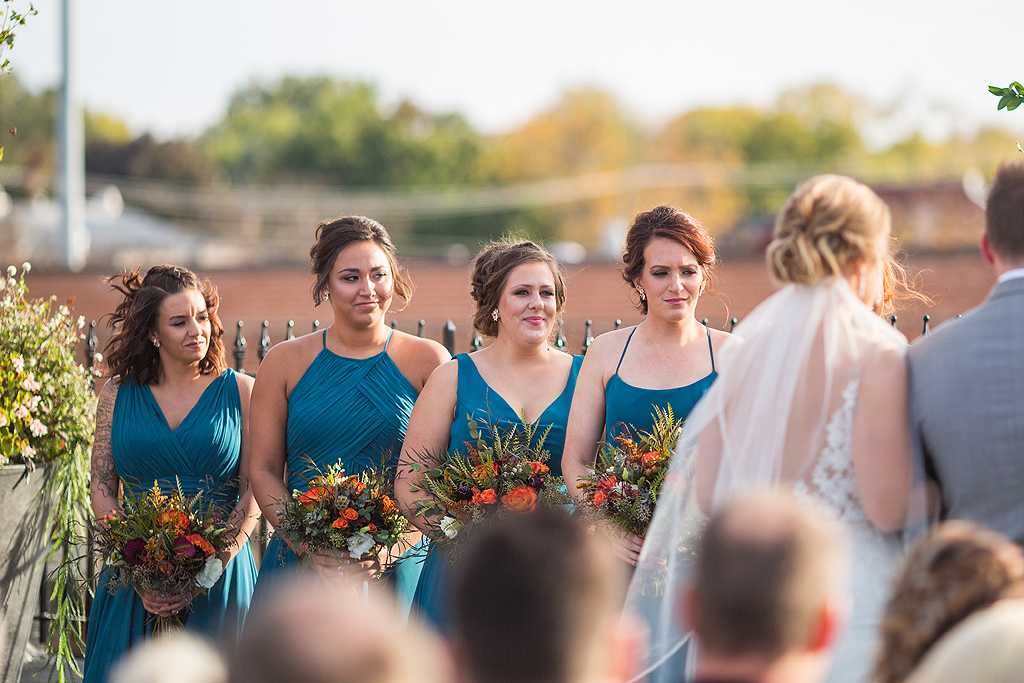 bridesmaids during a wedding at the standard in rockford il