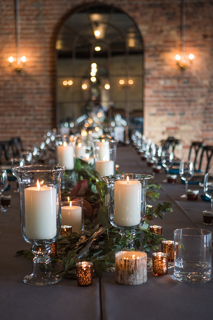 candle decor at a Real Wedding at the standard in rockford illinois