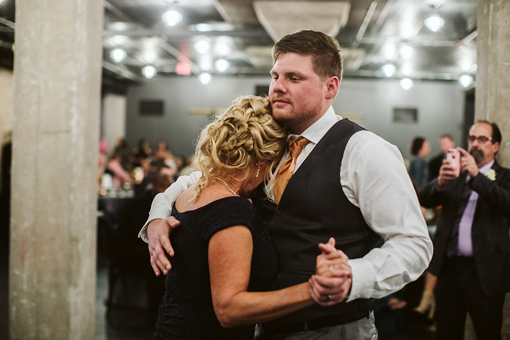 groom dancing with his mother at the standard in rockford illinois