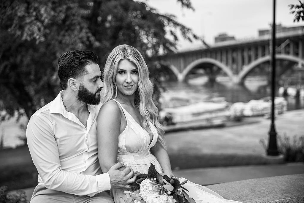 couples photography session in front of bridge in rockford illinois