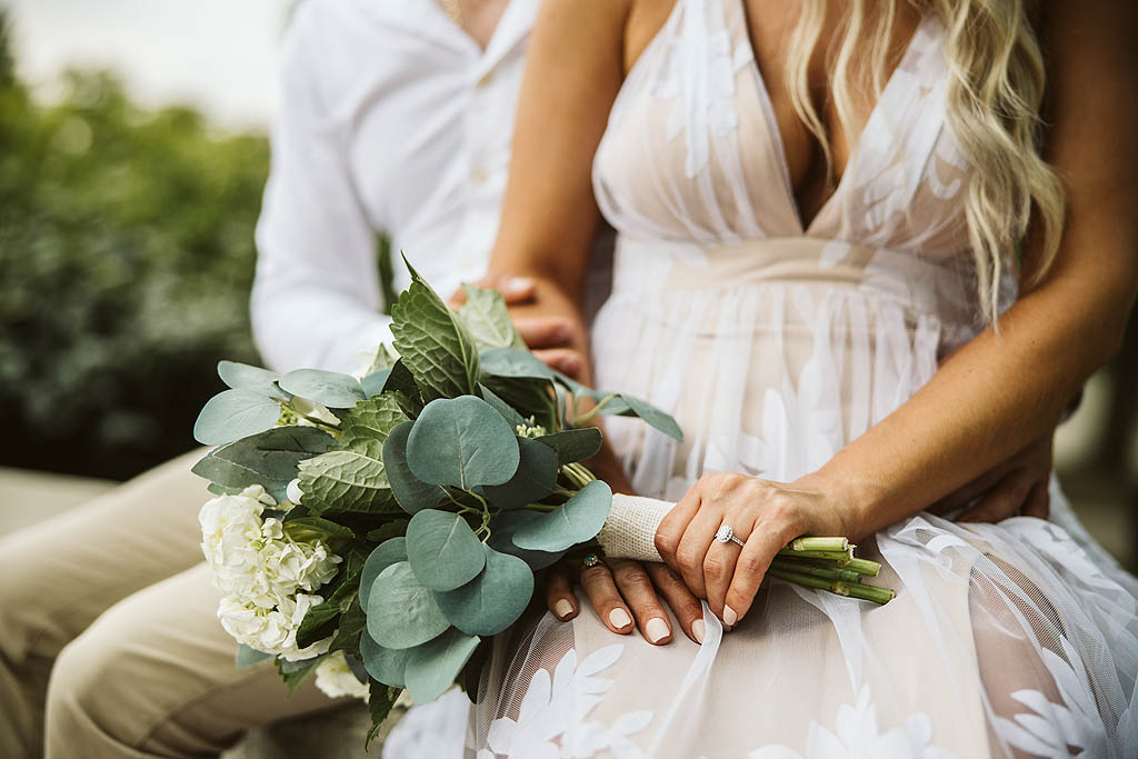 bouquet of flowers during and engagement photography session
