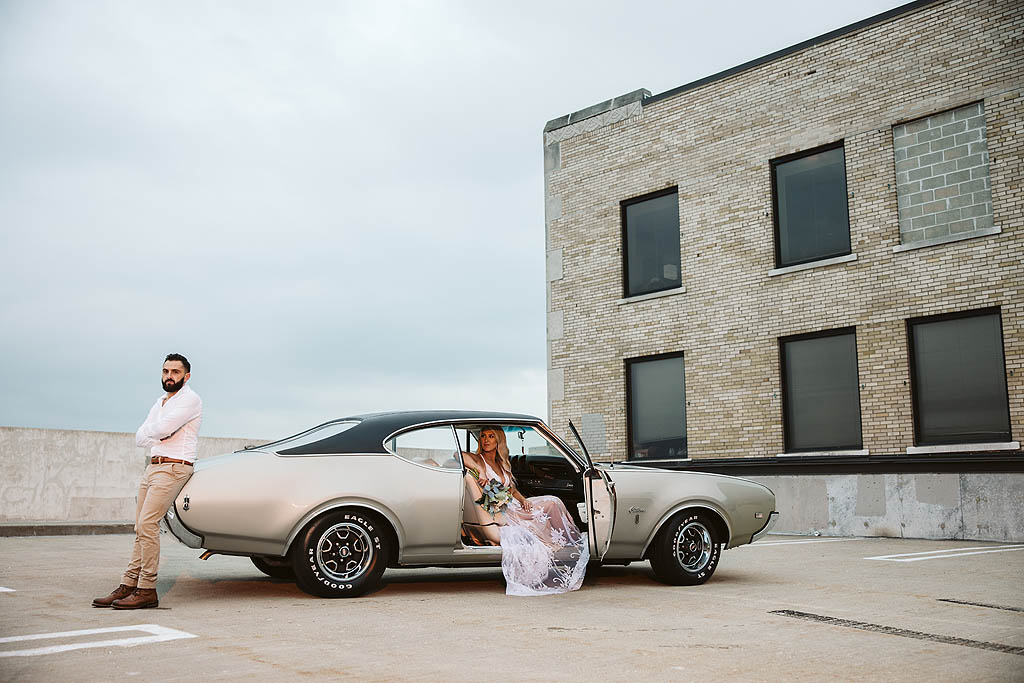 rockford illinois engagement photographs with a classic car