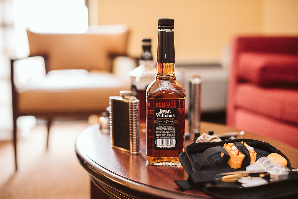 groom's whiskey on his wedding day