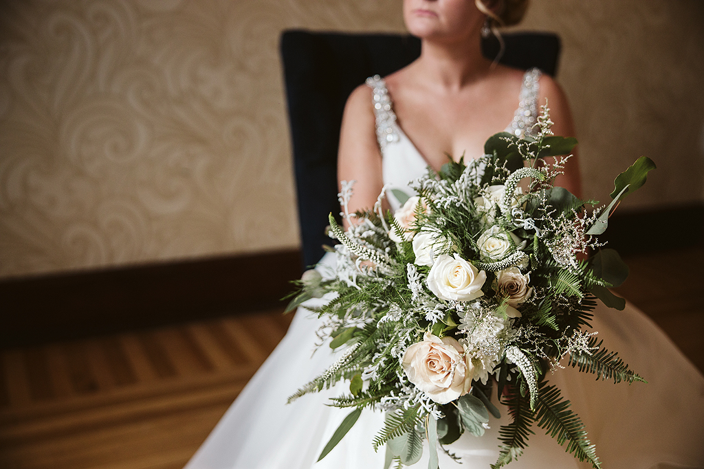 bridal bouquet in the bridal suite bride at The Haight in Elgin Illinois