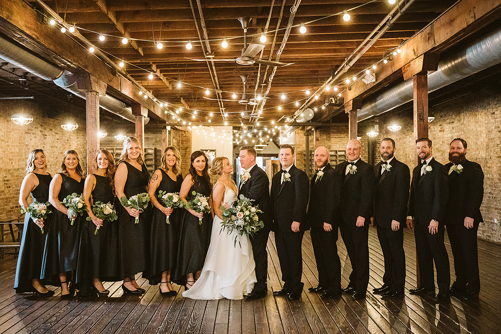 entire bridal party at The Haight in Elgin Illinois