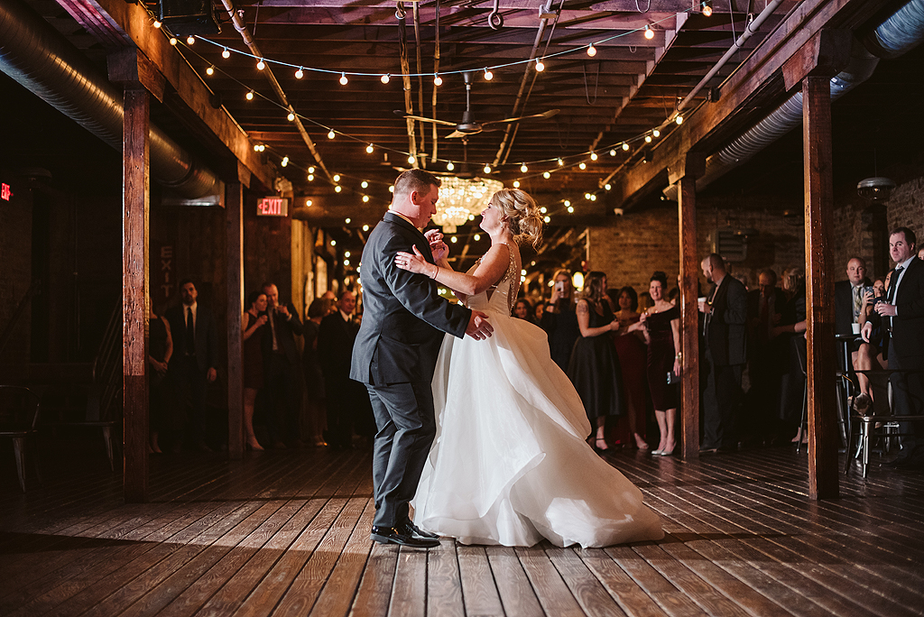 bride and grooms first dance at their reception at The Haight in Elgin Illinois