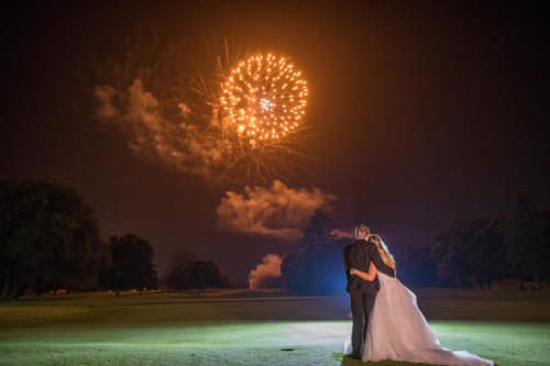 Bride and Groom celebrating their fireworks at their wedding