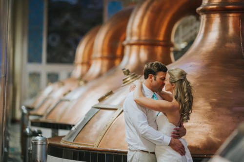 Bride and Groom at Pabst Brewery in Milwaukee Wisconsin