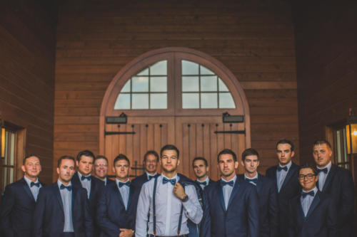 groom and his groomsmen at Orchard Ridge Farms the Pavilion in Rockton Illinois