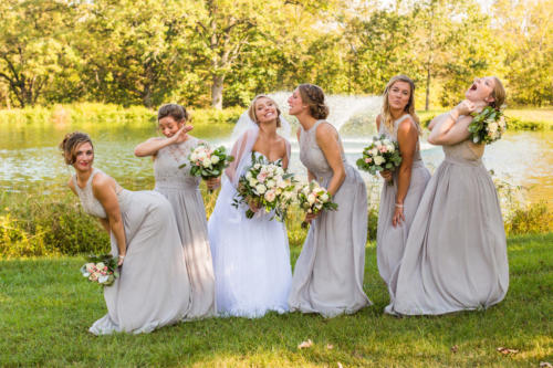 bride and her crazy bridesmaids at oak hill in apple river illinois