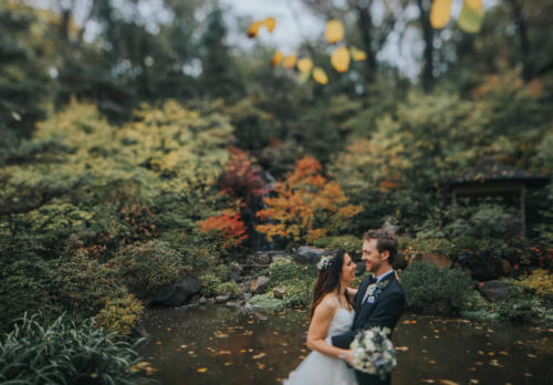 bride and groom by waterfall at anderson Japanese gardens in rockford illinois