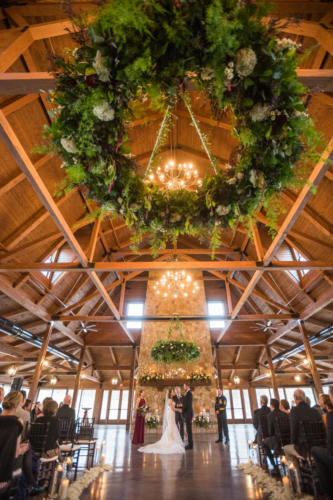 custom hanging floral decor at Orchard Ridge Farms the Pavilion in Rockton Illinois by Event floral