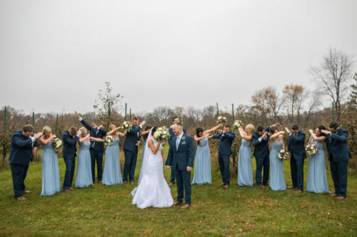 bridal party doing the dab