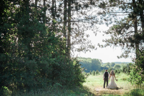 bride and groom in the trees at williams tree farm in rockton illinois