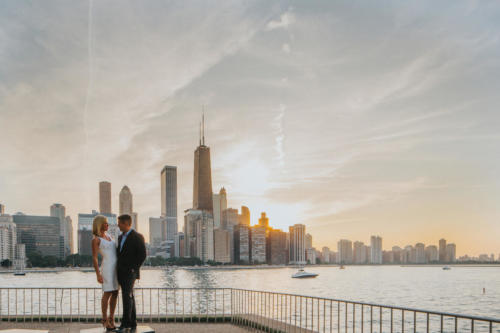 olive park engagement session in Chicago at sunset
