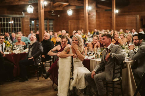 bride and groom cry during father speech at reception