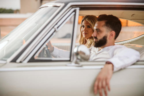 ENGAGEMENT PHOTOGRAPHY SESSION  with a classic car at sunset