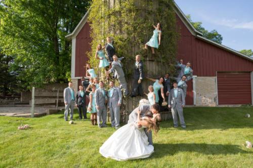 bridal party climbing silo