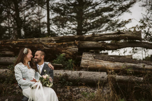 bride and groom with logs in back ground