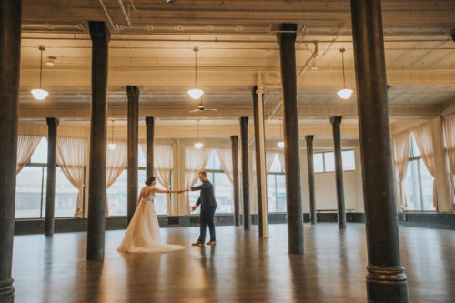 bride and groom dancing at the pritzlaf in milwaukee wisconsin